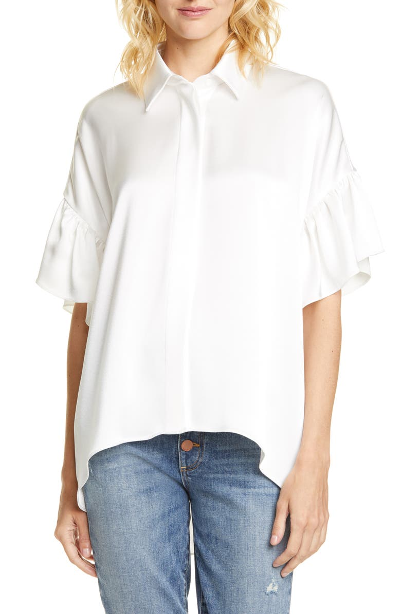 ALICE + OLIVIA Edyth Ruffle Sleeve Button-Up Blouse, Main, color, 100