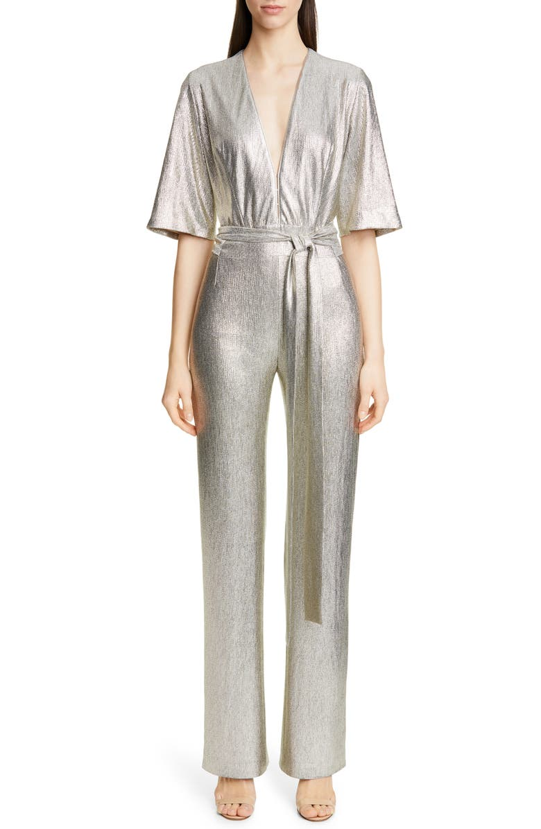 GALVAN Metallic Galaxy Jumpsuit, Main, color, LIGHT GOLD