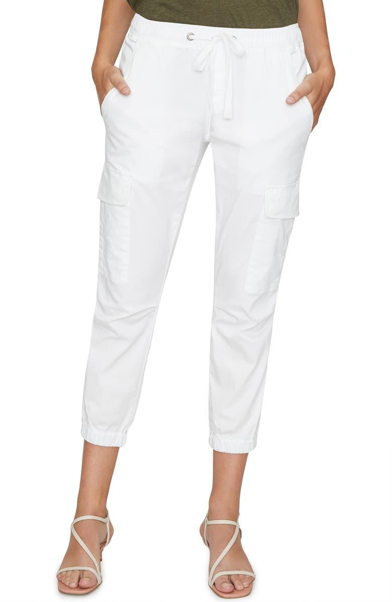 SANCTUARY Squad Crop Stretch Cotton Joggers, Main, color, WHITE