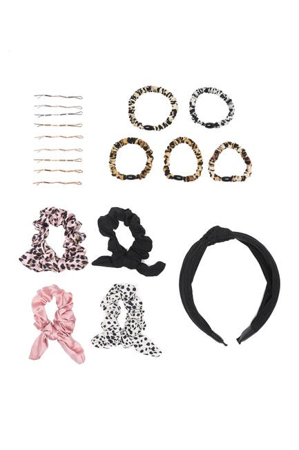 Image of NOIR Basic Ribbed Headband, Scrunchie & Bobby Pin Set