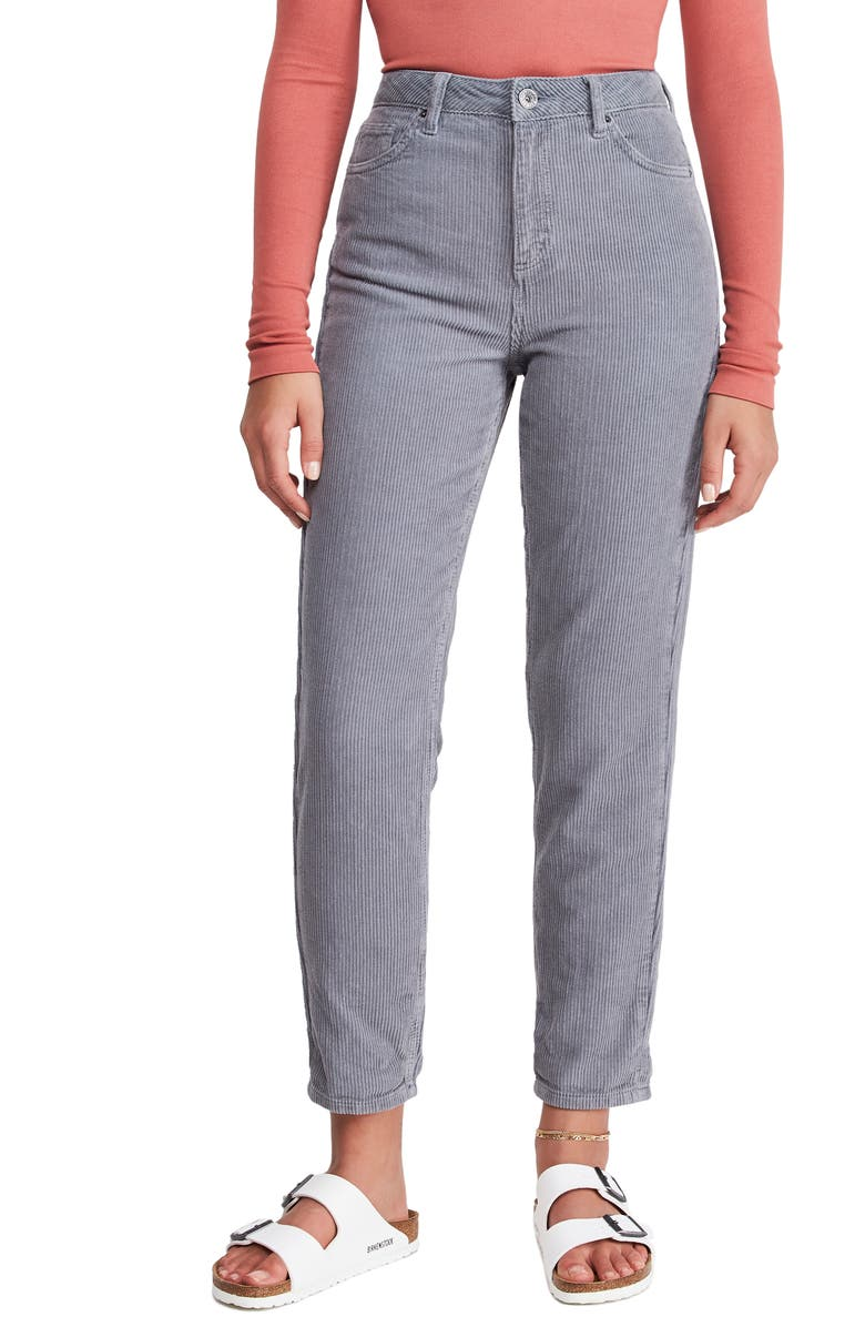 BDG URBAN OUTFITTERS Mom Corduroy Pants, Main, color, COOL GREY