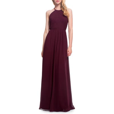 #levkoff Open Back Halter Neck Chiffon Gown, Burgundy