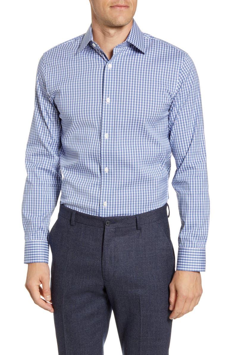 BONOBOS Trim Fit Check Dress Shirt, Main, color, LANDING BLUE EYES