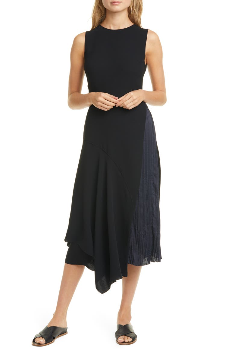 VINCE Mixed Panel Sleeveless Dress, Main, color, 001