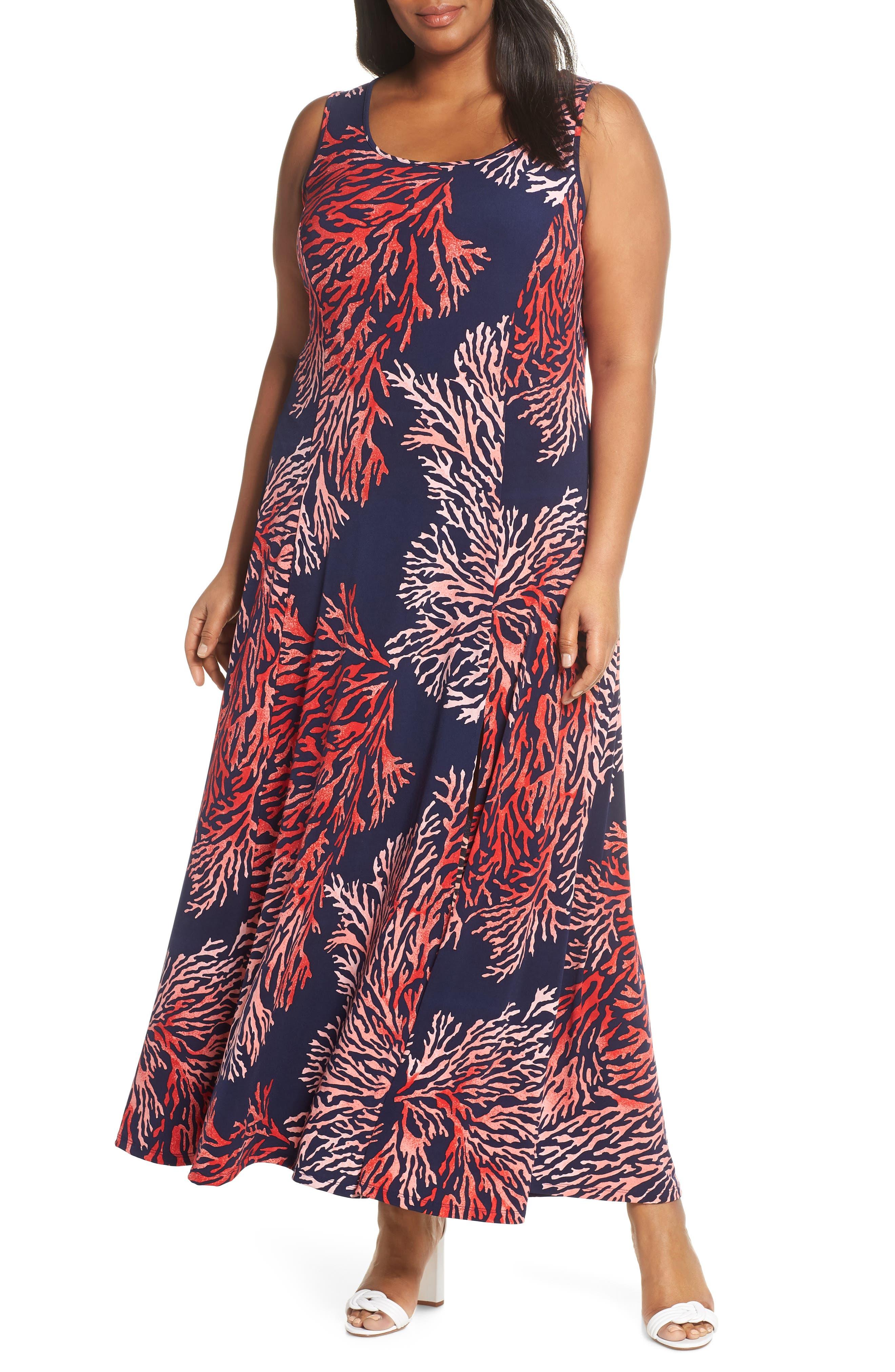 Plus Size Michael Michael Kors Grand Petani Sleeveless Maxi Dress, Blue