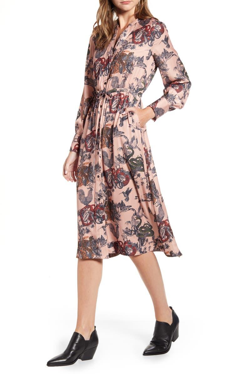 SCOTCH & SODA Long Sleeve Satin Shirtdress, Main, color, 0604-COMBO Y