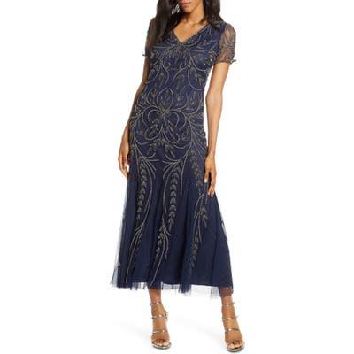 Pisarro Nights Beaded Mesh Gown, Blue