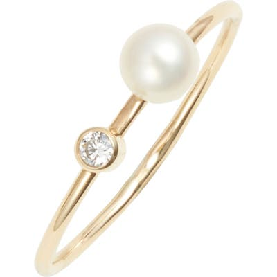 Poppy Finch Skinny Diamond & Pearl Ring