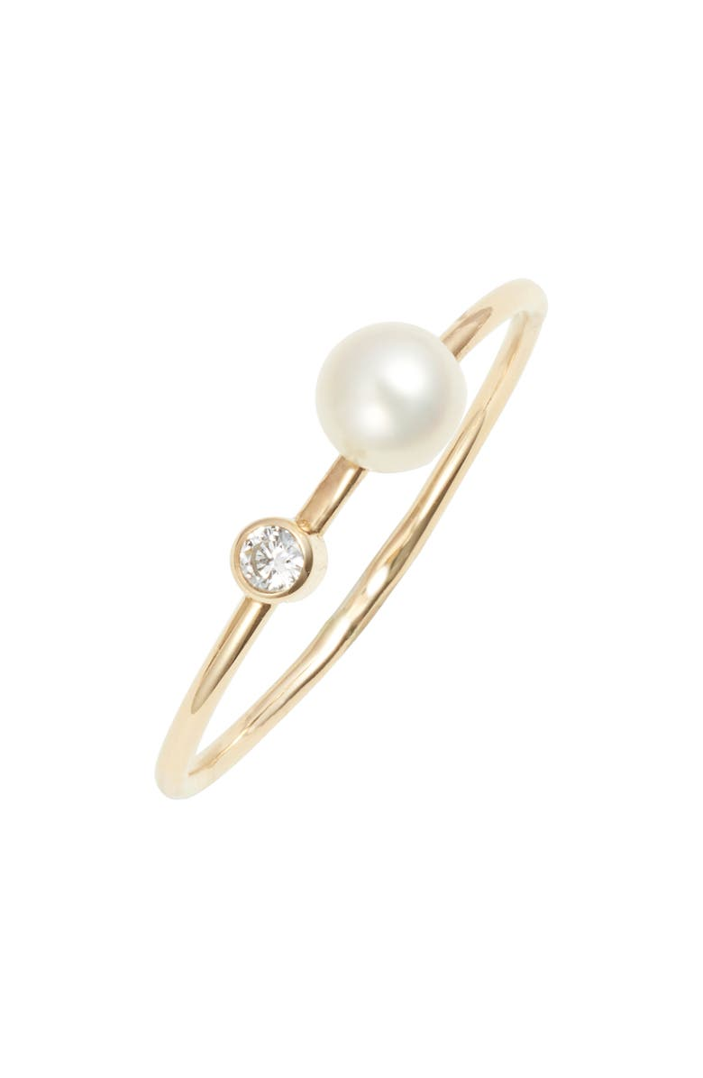 POPPY FINCH Skinny Diamond & Pearl Ring, Main, color, YELLOW GOLD/ PEARL