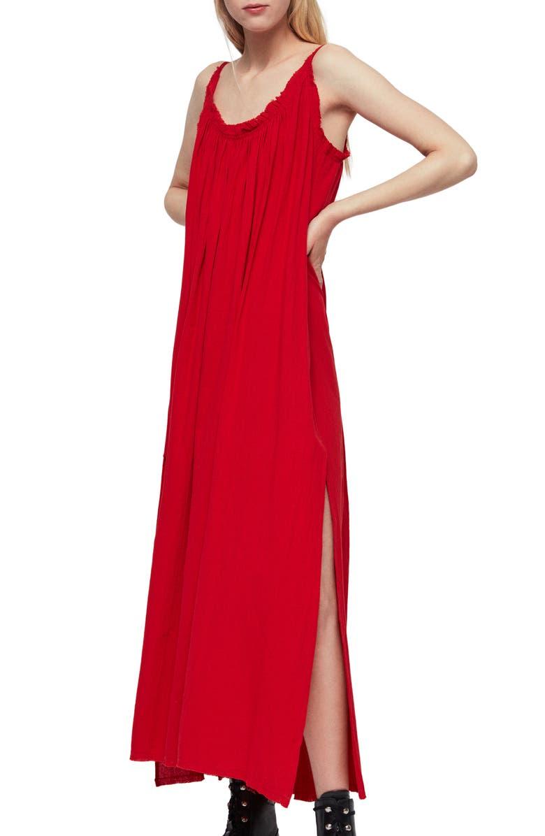 ALLSAINTS Romey Maxi Dress, Main, color, RED