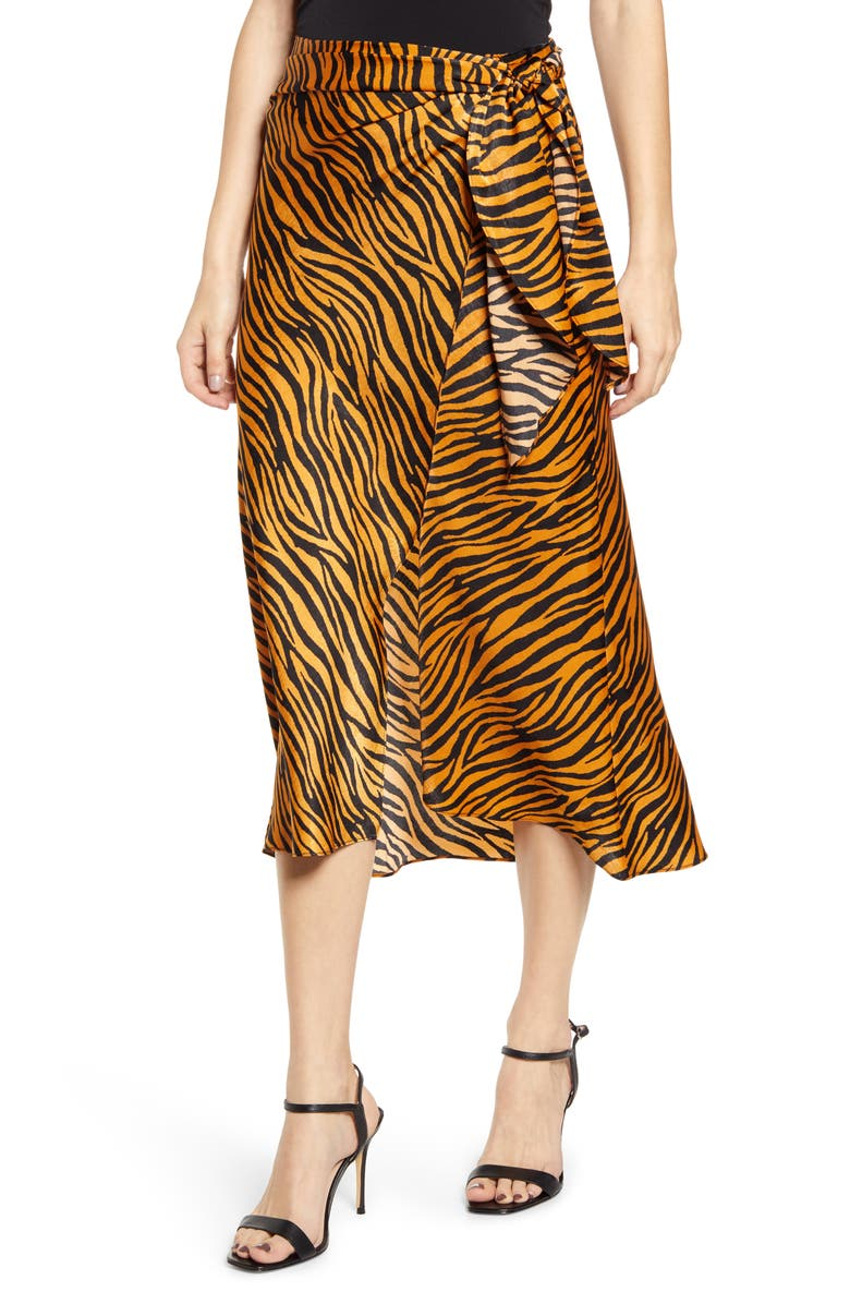 J.O.A. Faux Wrap Midi Skirt, Main, color, GINGER TIGER