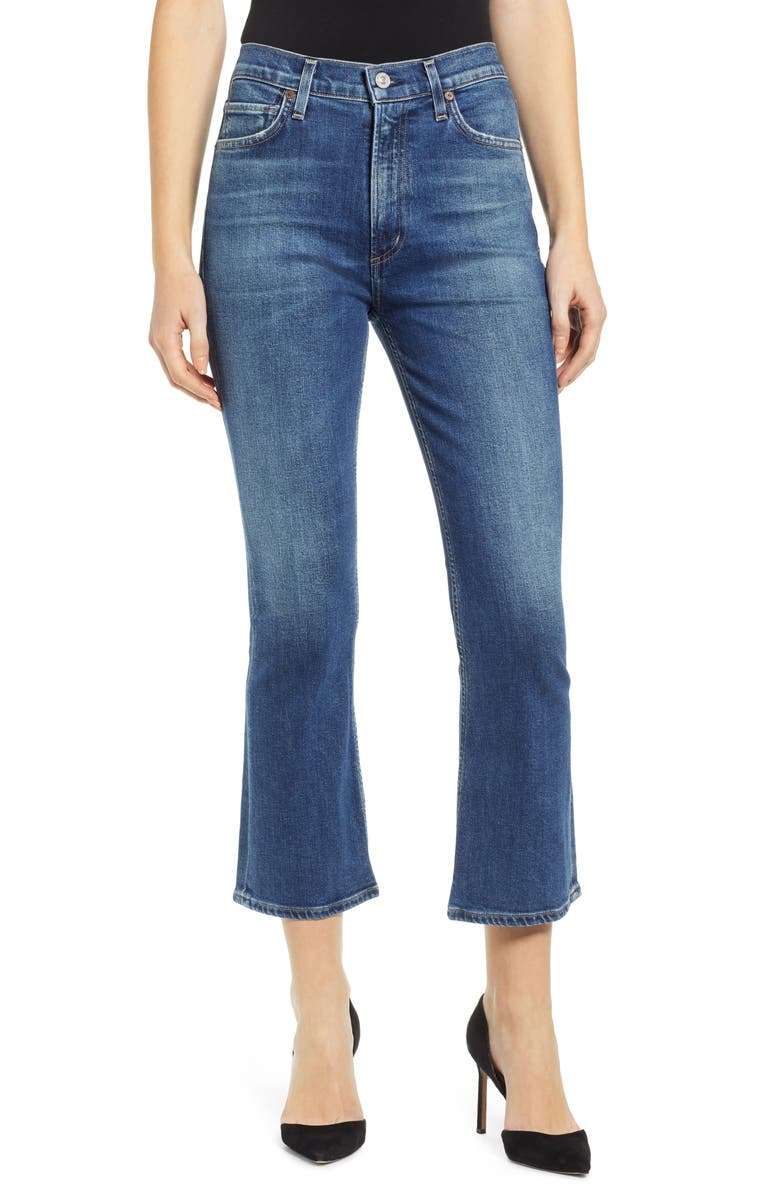 CITIZENS OF HUMANITY Demy High Waist Crop Flare Jeans, Main, color, CLEARWATER