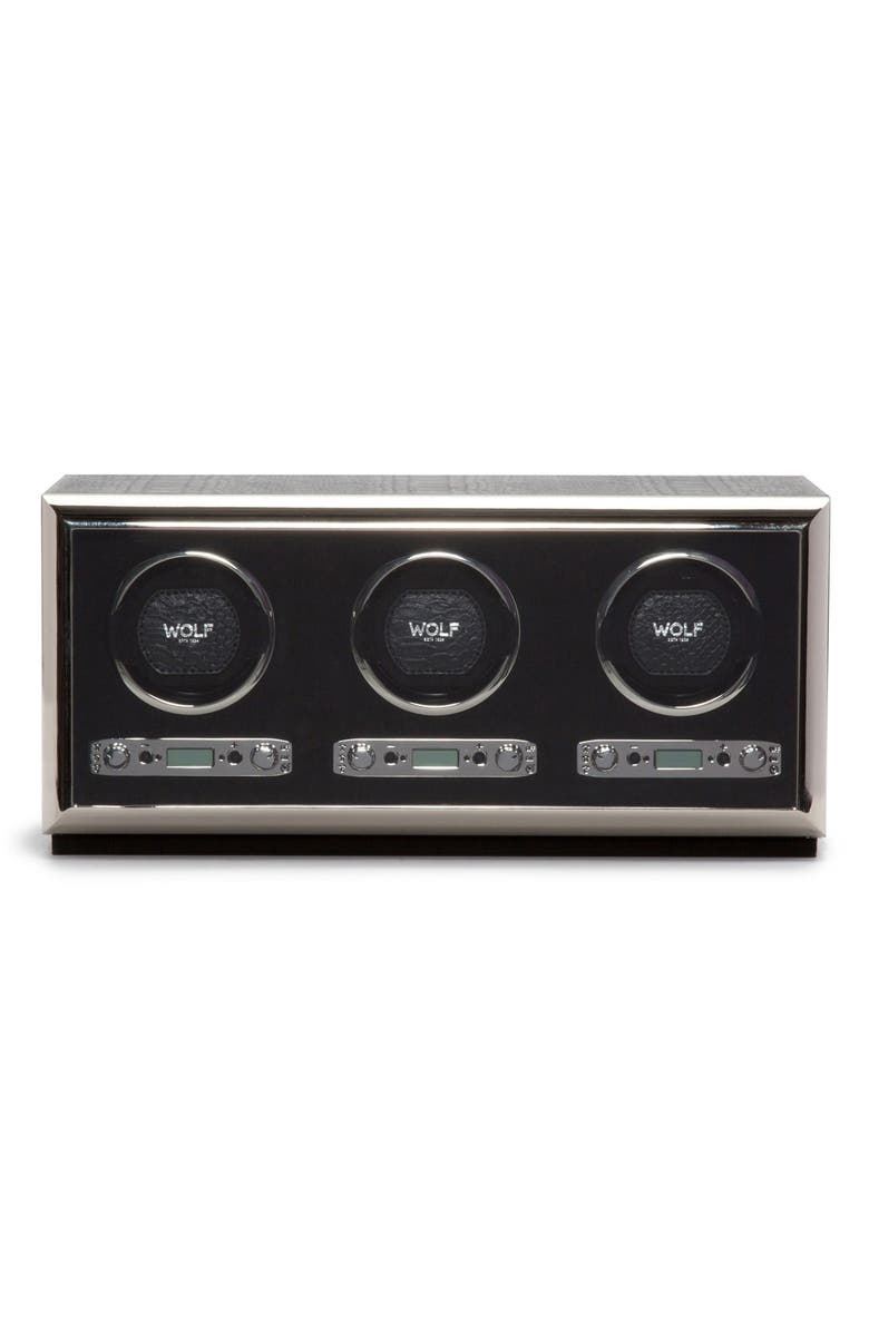 WOLF Exotic Triple Watch Winder, Main, color, BLACK