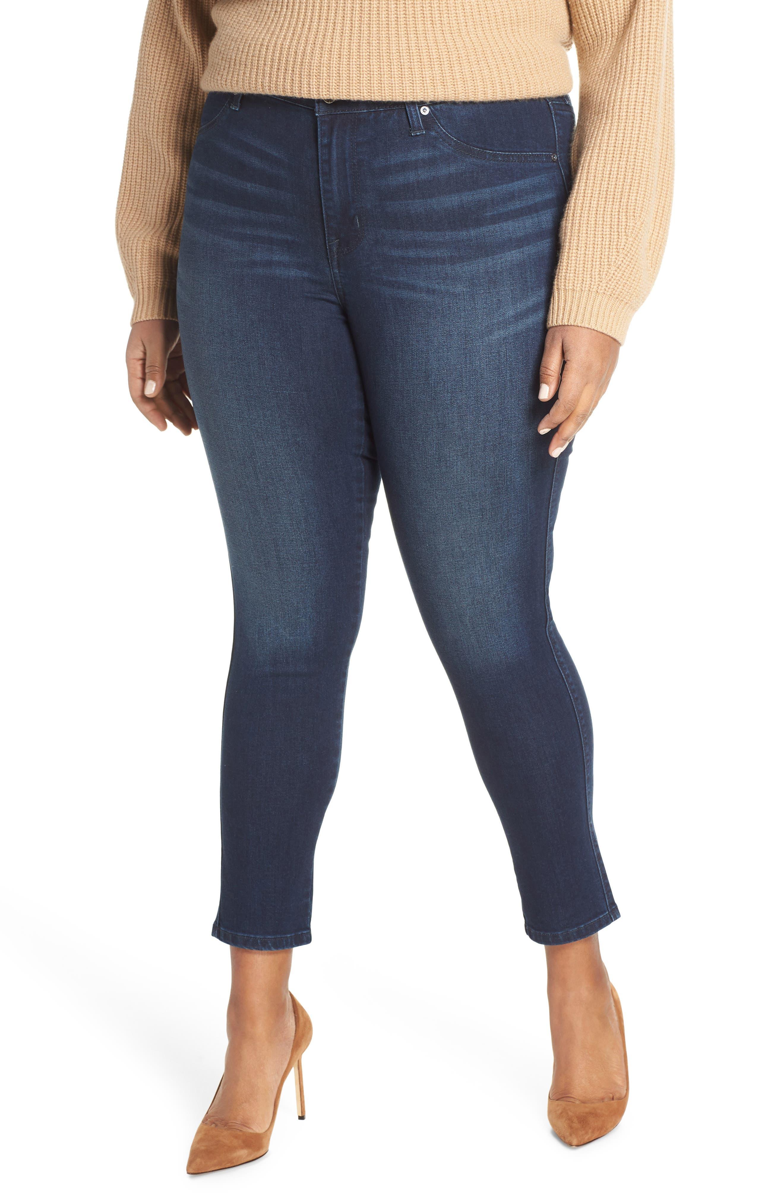 Plus Women's Maxstudio Indigo Perfect Vintage Double Button No Gap High Rise Ankle Jeans