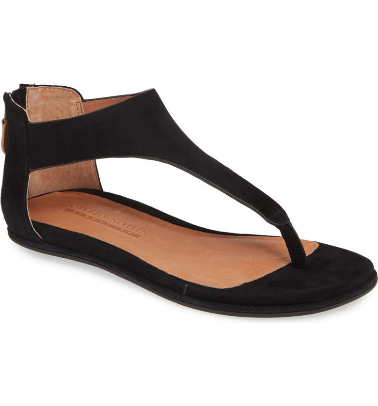 GENTLE SOULS SIGNATURE Greta V-Strap Flat Sandal, Main, color, BLACK SUEDE