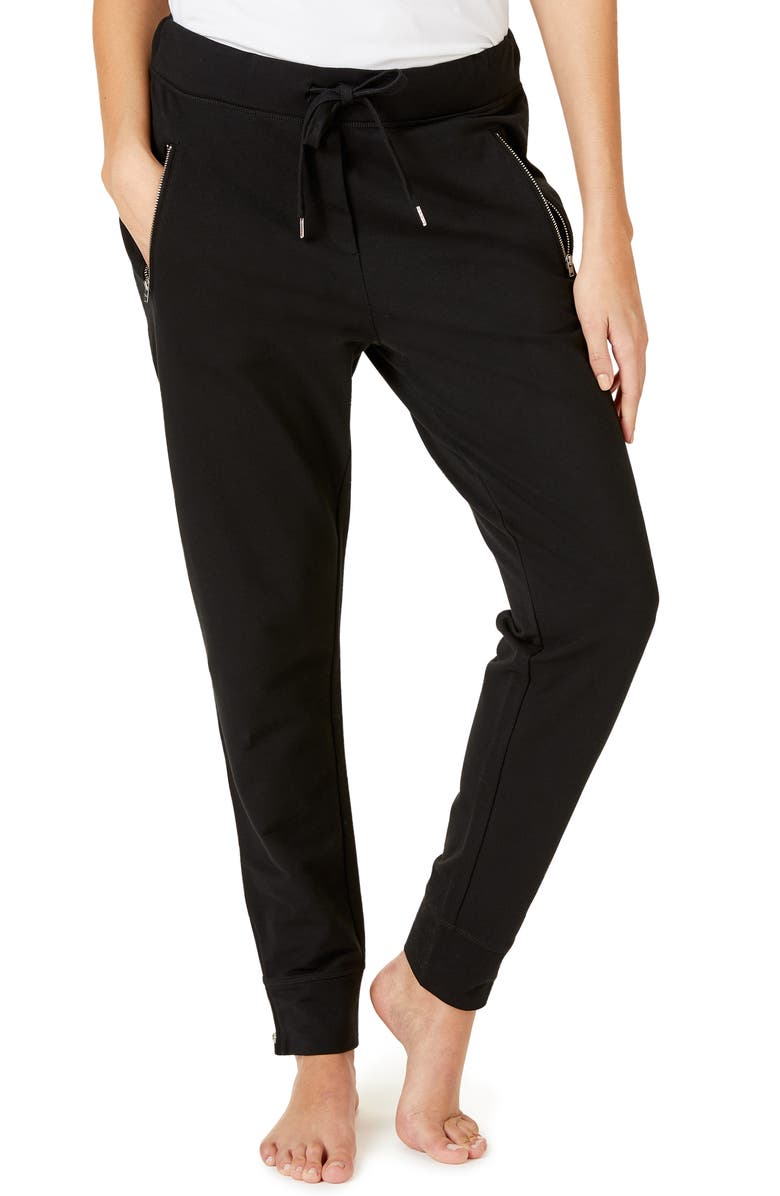 THE WHITE COMPANY Zip Detail Jogger Pants, Main, color, BLACK
