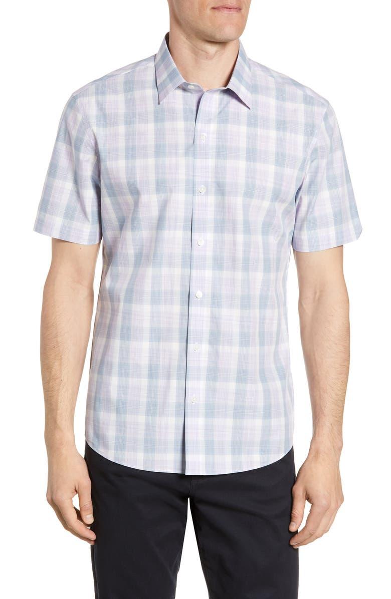 ZACHARY PRELL Grafas Regular Fit Plaid Short Sleeve Button-Up Shirt, Main, color, 530