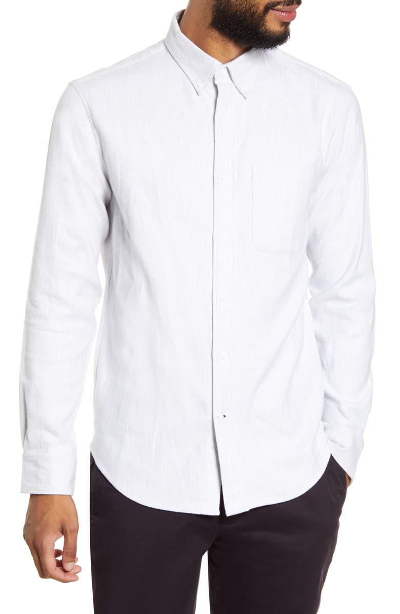 CLUB MONACO Jaspe Button-Down Shirt, Main, color, 020