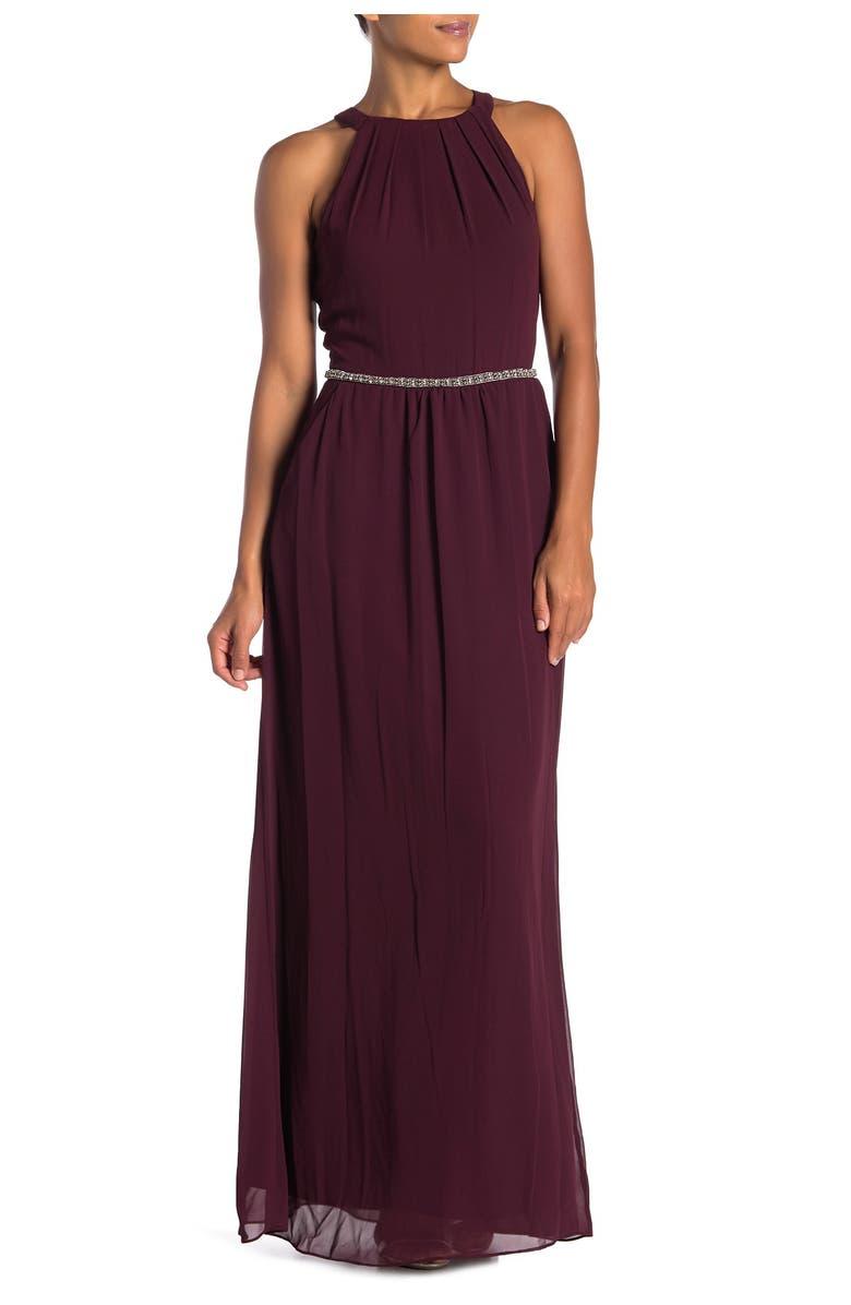 SLNY Halter Neck Beaded Waist Chiffon Gown, Main, color, FIG