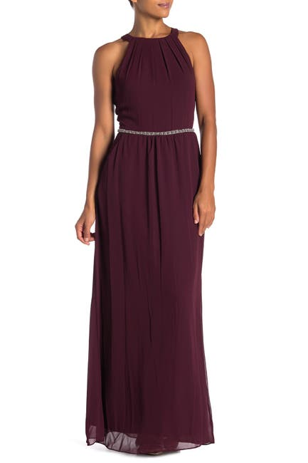 Image of SLNY Halter Neck Beaded Waist Chiffon Gown