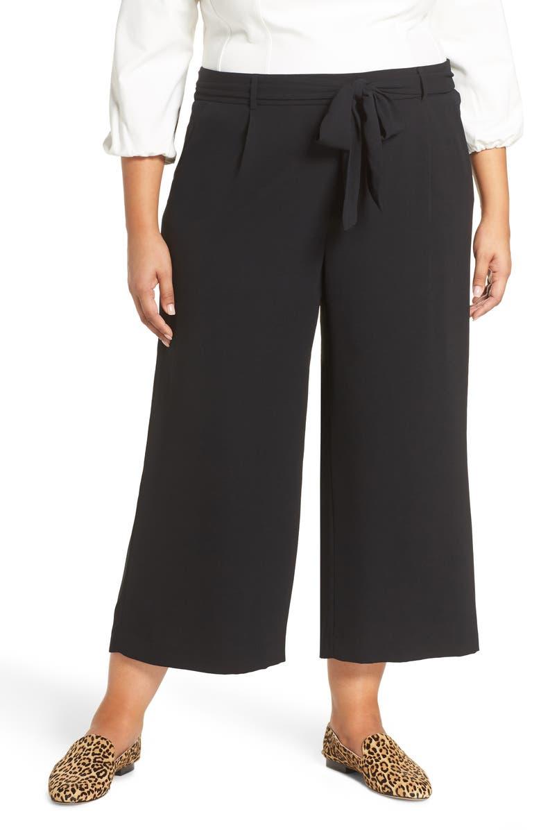 HALOGEN<SUP>®</SUP> Tie Waist Wide Leg Cropped Pants, Main, color, BLACK