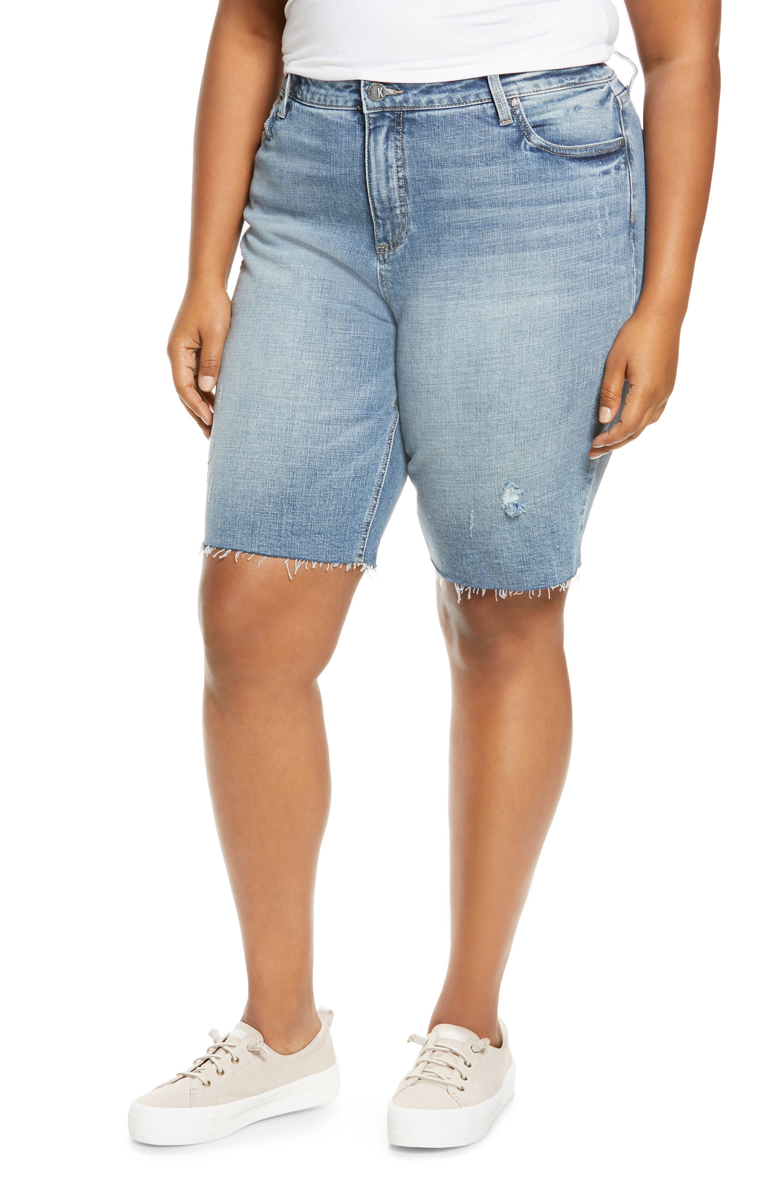 Plus Women's Kut From The Kloth High Waist Bermuda Shorts