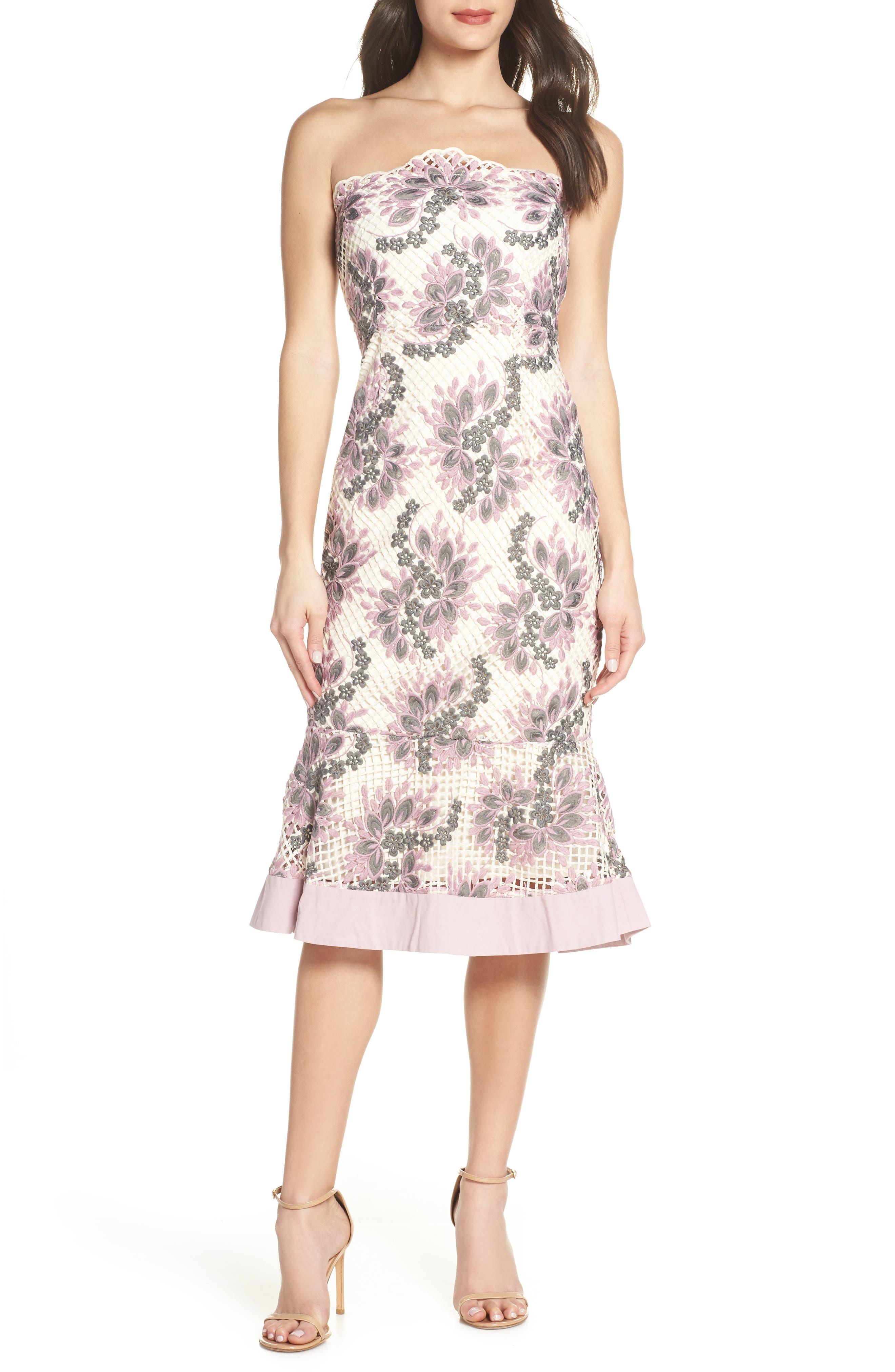 Foxiedox Jasmine Strapless Lace Midi Dress