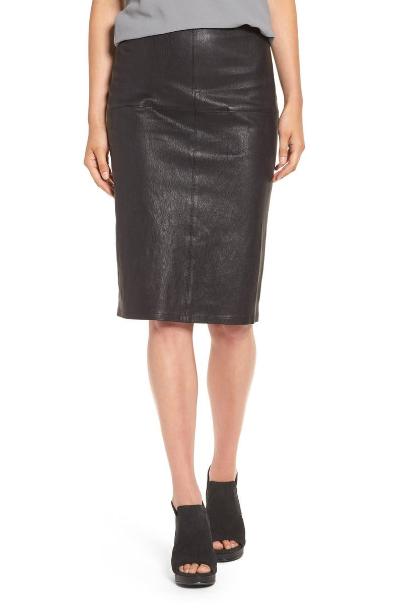 EILEEN FISHER Modern Stretch Leather Pencil Skirt, Main, color, 001
