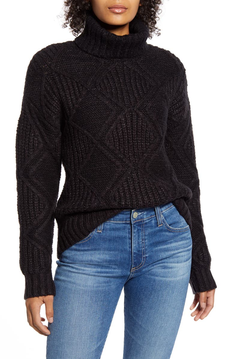 CASLON<SUP>®</SUP> Chunky Cable Knit Turtleneck Sweater, Main, color, 001