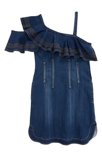 Habitual GIRL'S HABITUAL RUFFLE COLD-SHOULDER DENIM DRESS