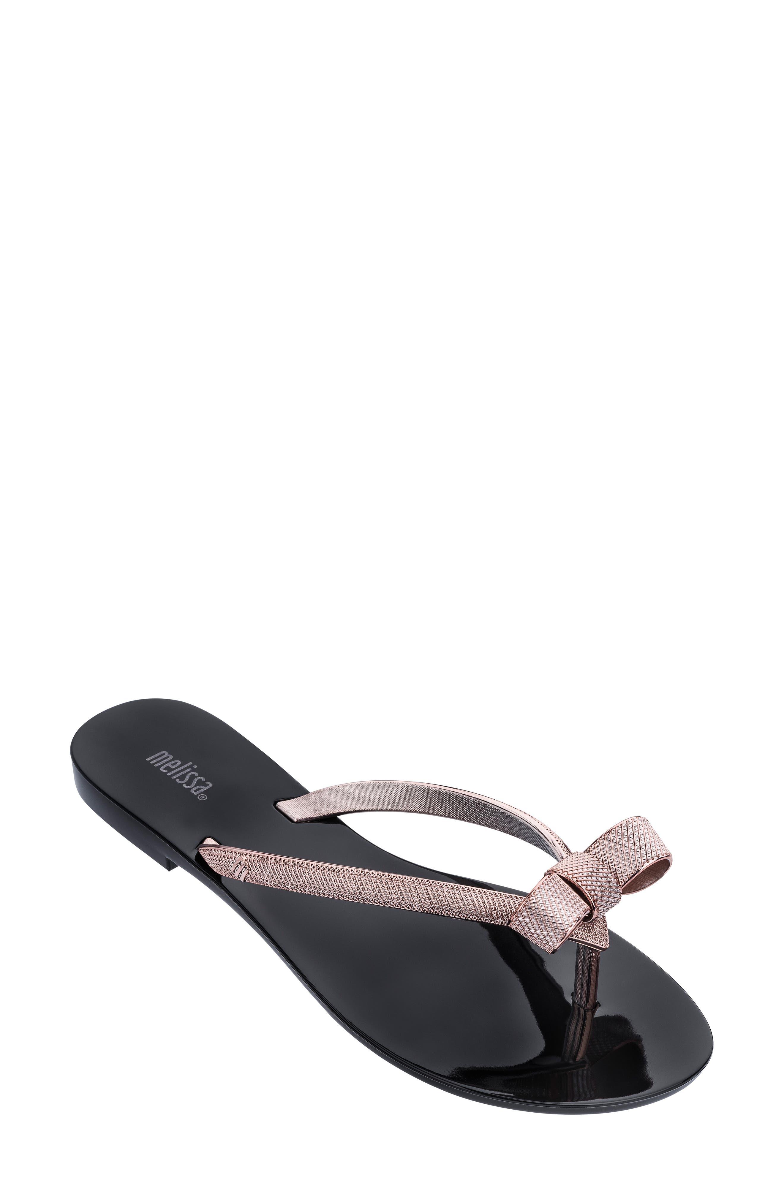 Melissa Harmonic Chrome Bow Flip Flop, Black