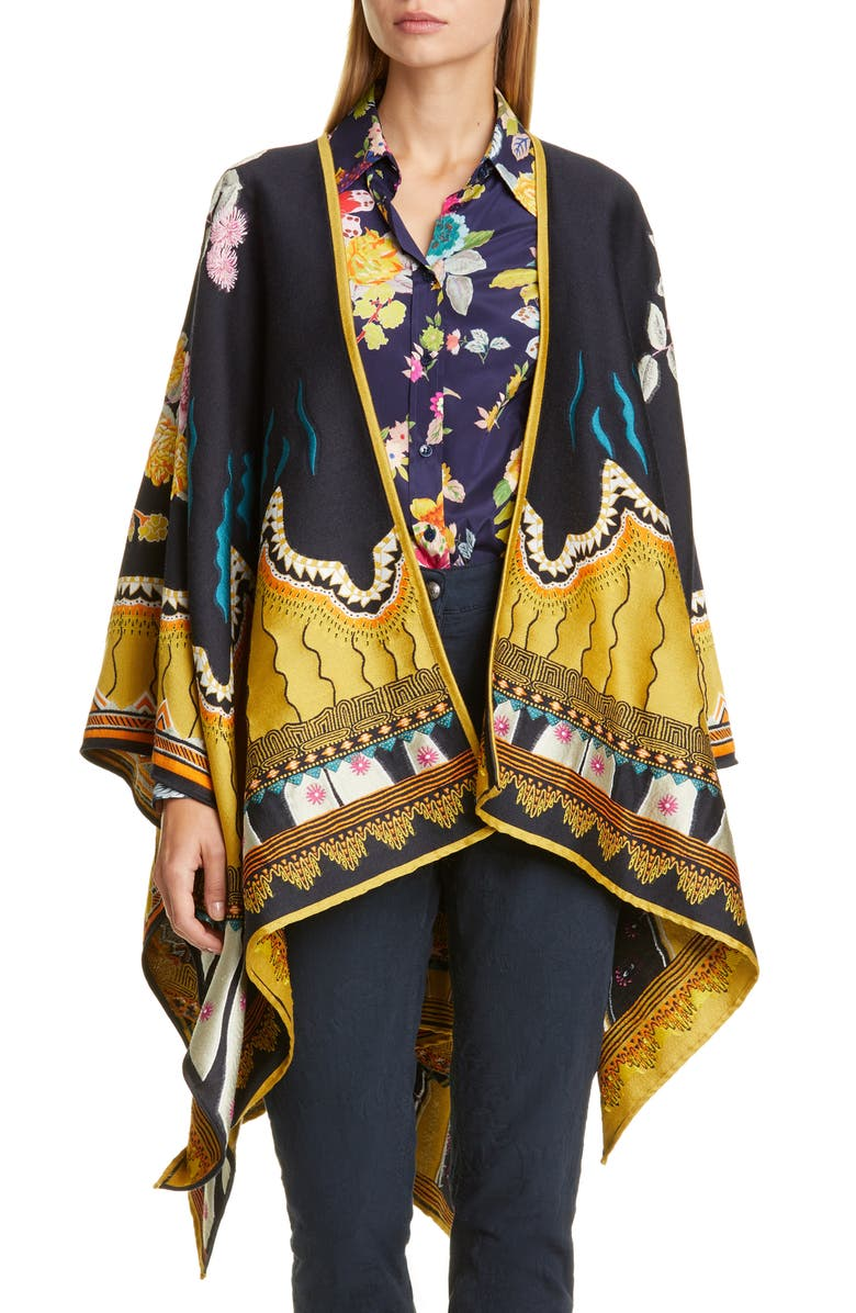 ETRO Jacquard Wool Blend Open Front Poncho, Main, color, NAVY