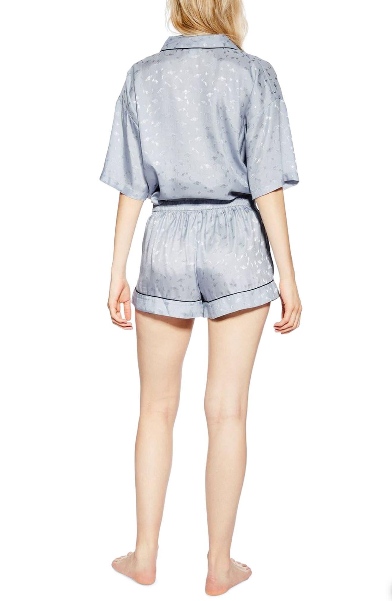 ,                             Space Jacquard Pajama Shorts,                             Alternate thumbnail 2, color,                             BLUE