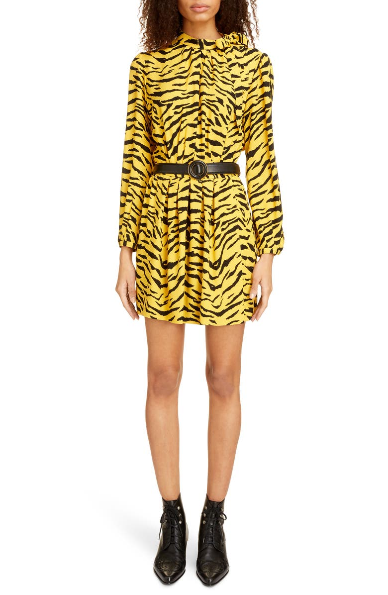 SAINT LAURENT Zebra Stripe Long Sleeve Dress, Main, color, JAUNE DOR