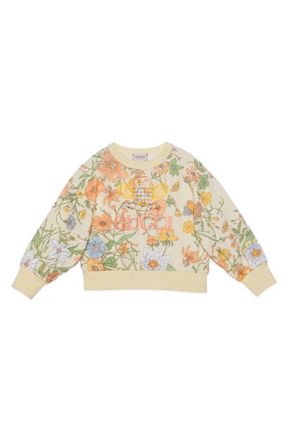 Gucci Kids' Girl's Floral Jersey Sweatshirt W/ Tennis Embroidery In Green