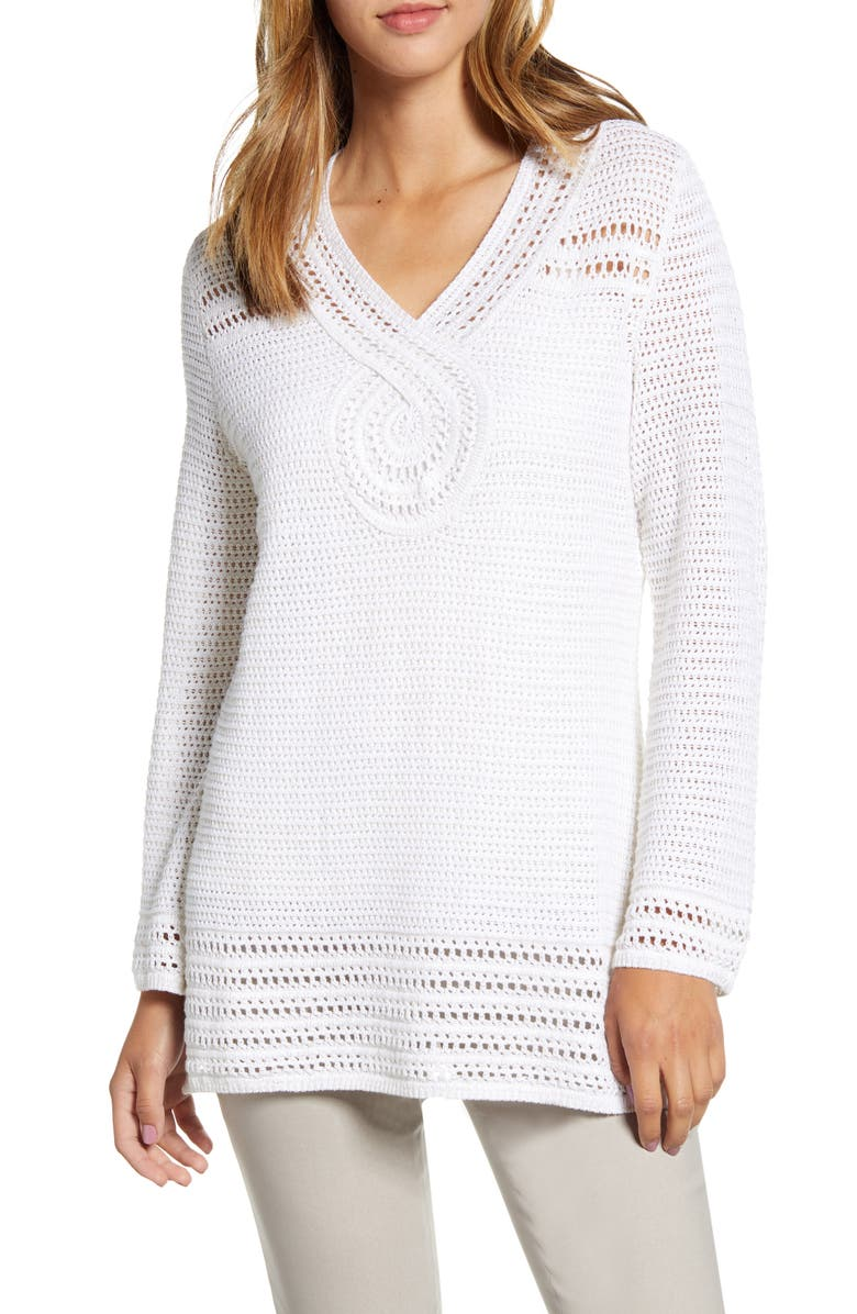 TOMMY BAHAMA Sand Dollar Shimmer Tunic Sweater, Main, color, SOFT GOLD