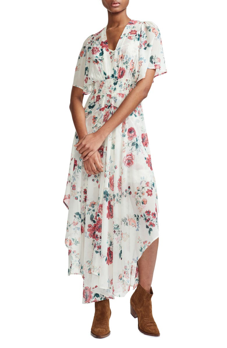 MAJE Rachelle Asymmetrical Hem Floral Print Maxi Dress, Main, color, 100