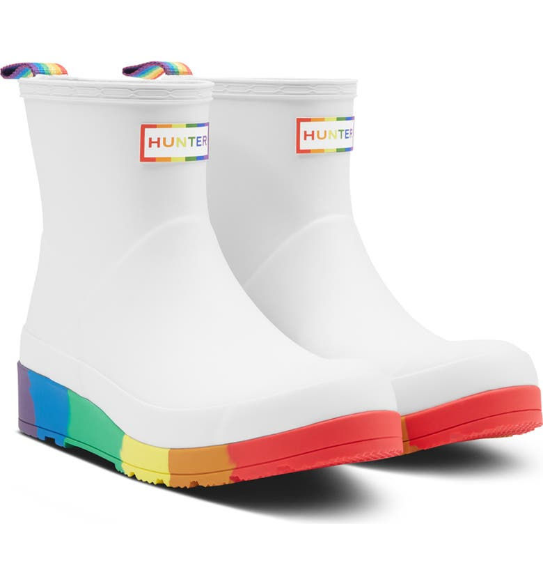 HUNTER Original Pride Play Waterproof Rain Boot, Main, color, WHITE RUBBER