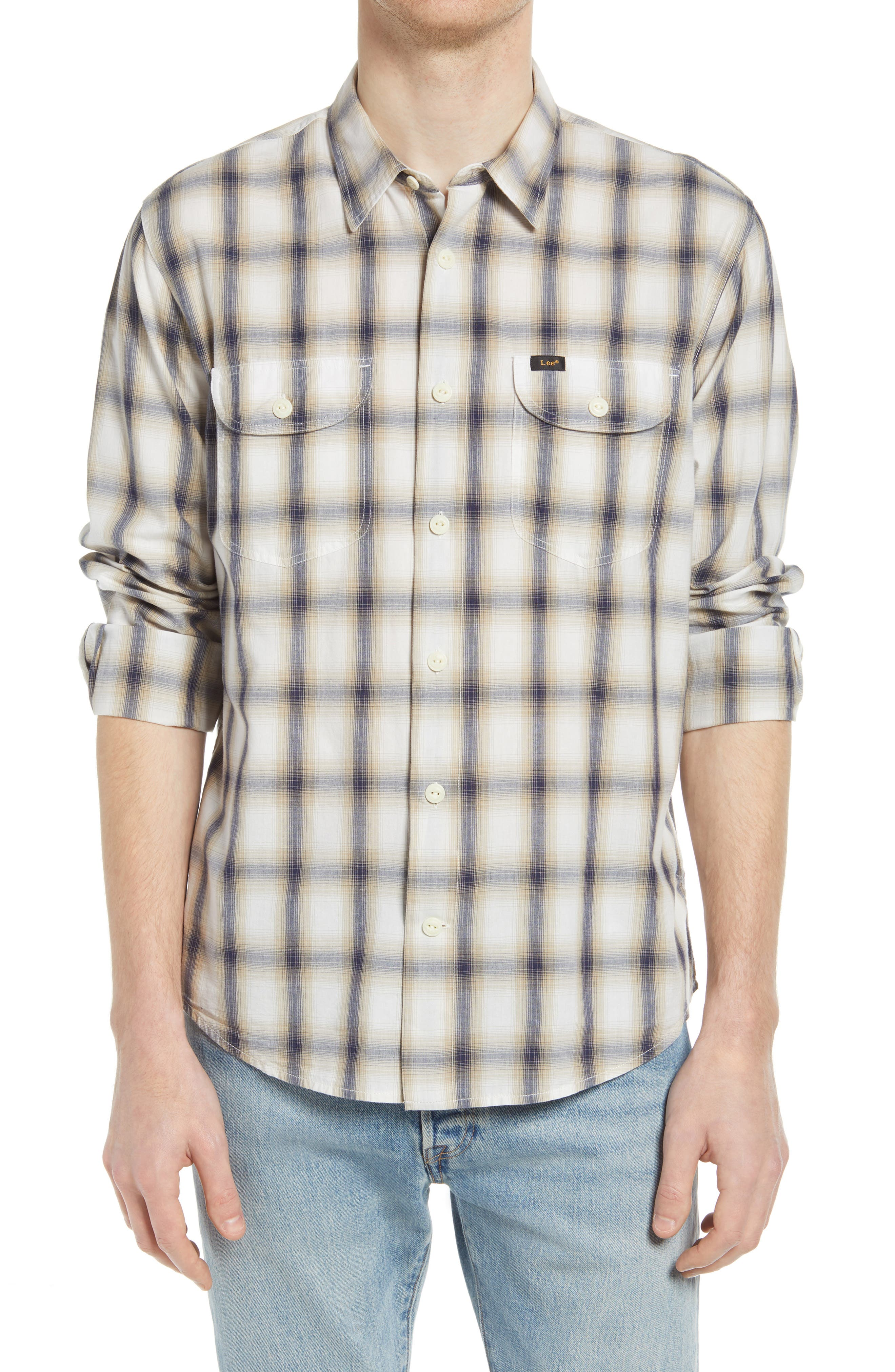 Relaxed Fit Plaid Button-Up Work Shirt