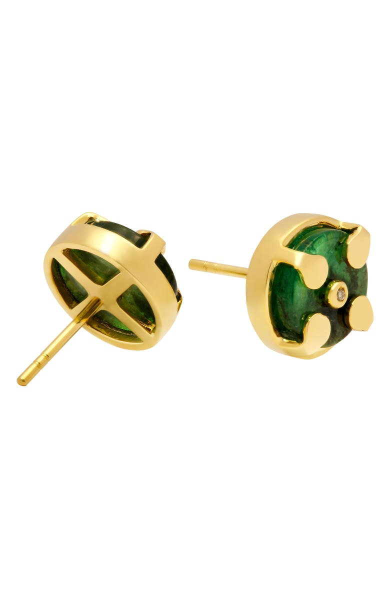 CONGÉS Rebirth & Abundance Emerald Stud Earrings, Main, color, YELLOW GOLD
