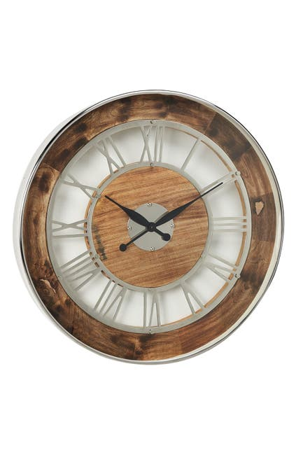 "Image of Willow Row 30"" Industrial Brown Wood & Silver Metal Oversized Wall Clock"