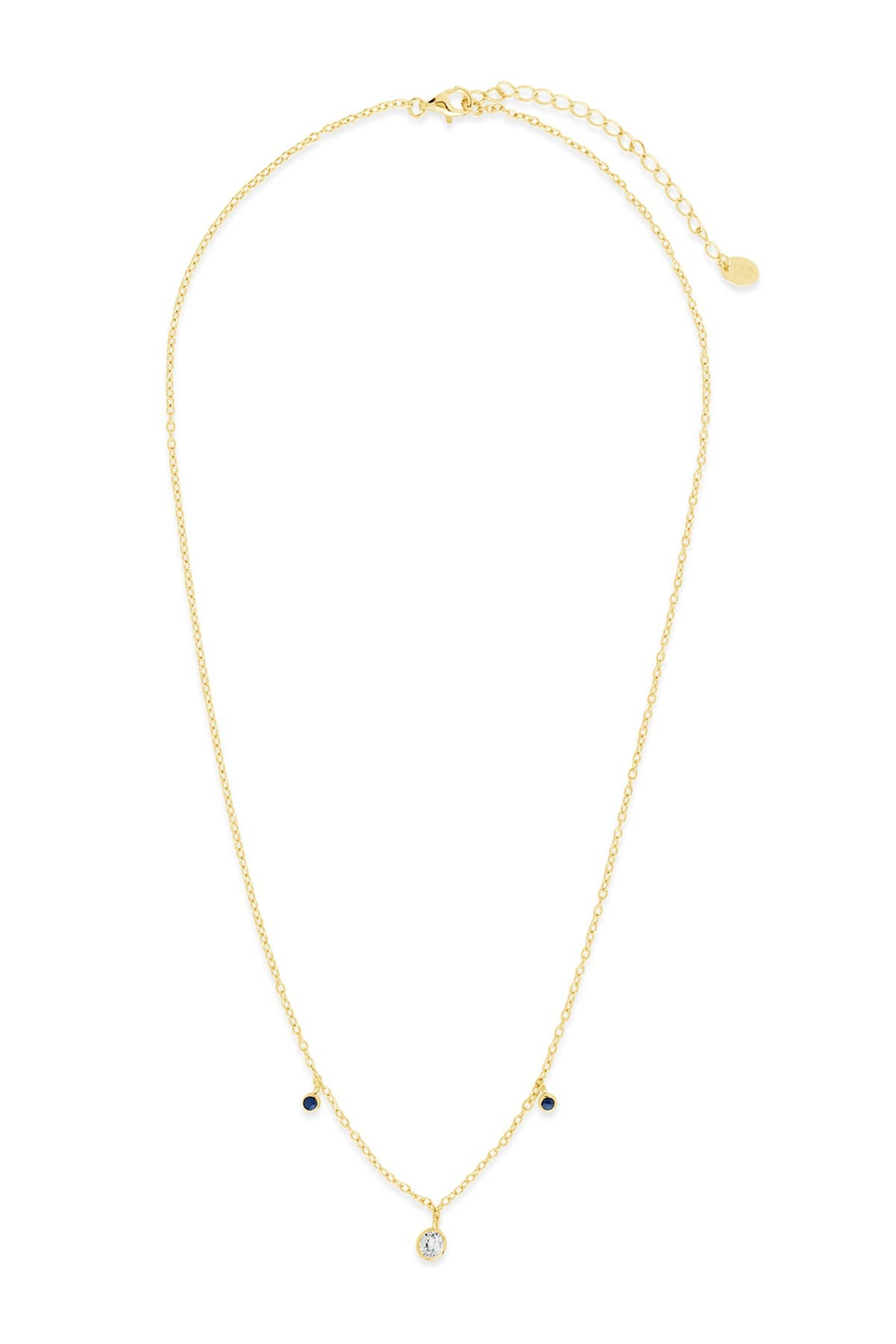 Image of Sterling Forever 14K Gold Vermeil Plated Sterling Silver Blue Enamel & CZ Charm Necklace