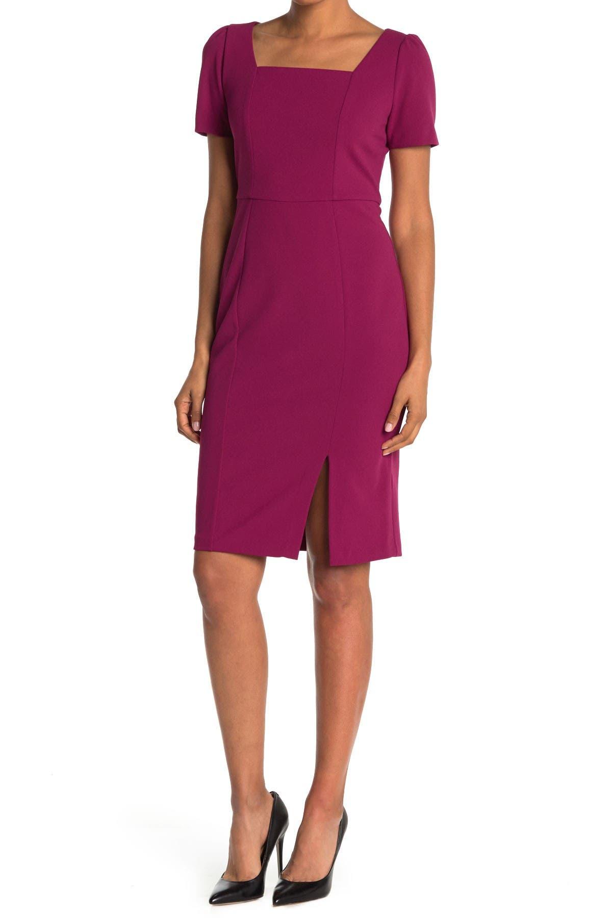 Image of London Times Scruba Crepe Short Sleeve Midi Sheath Dress