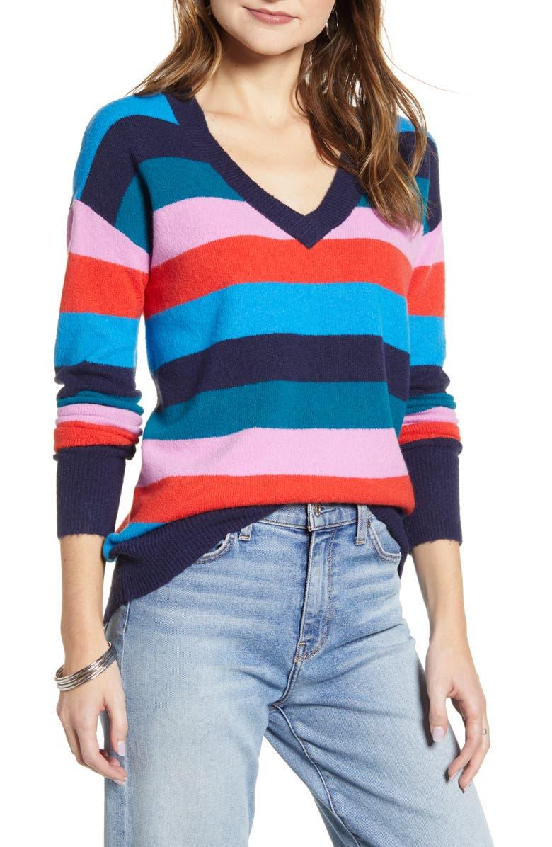 HALOGEN<SUP>®</SUP> V-Neck Sweater, Main, color, NAVY MULTI LUNA STRIPE