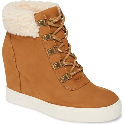 Kenneth Cole New York Kam Faux Fur High Top Sneaker, Brown