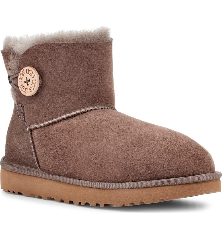 UGG<SUP>®</SUP> Mini Bailey Button II Genuine Shearling Boot, Main, color, MOLE SUEDE