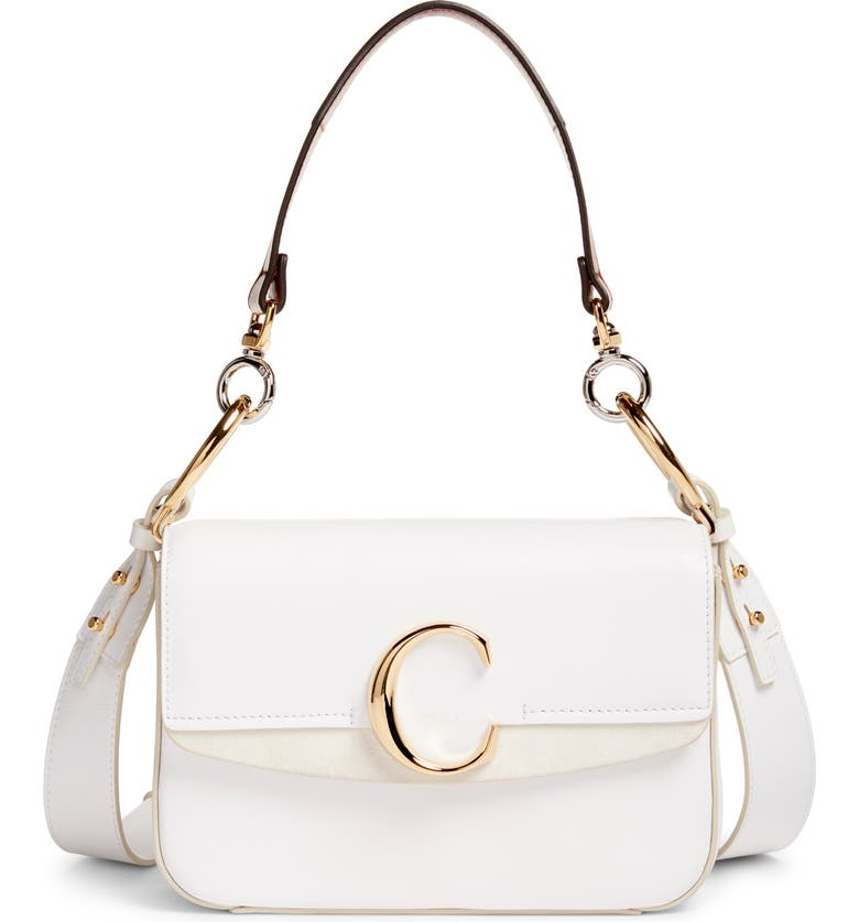 CHLOÉ Leather Shoulder Bag, Main, color, BRILLIANT WHITE