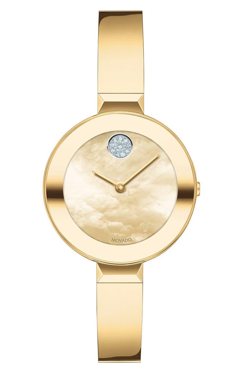 MOVADO Bold Pavé Dot Bangle Watch, 28mm, Main, color, GOLD/ YELLOW MOP/ GOLD