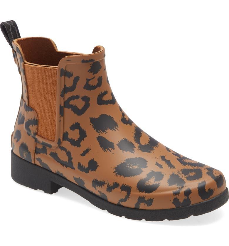 HUNTER Original Leopard Print Refined Chelsea Rain Boot, Main, color, THICKET/ BLACK RUBBER