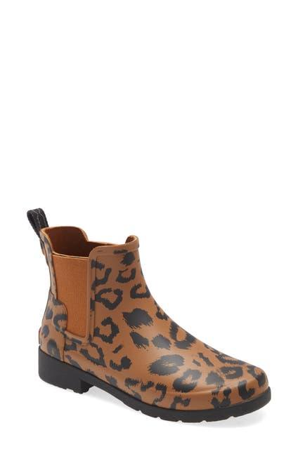 Image of Hunter Original Leopard Print Refined Chelsea Waterproof Rain Boot
